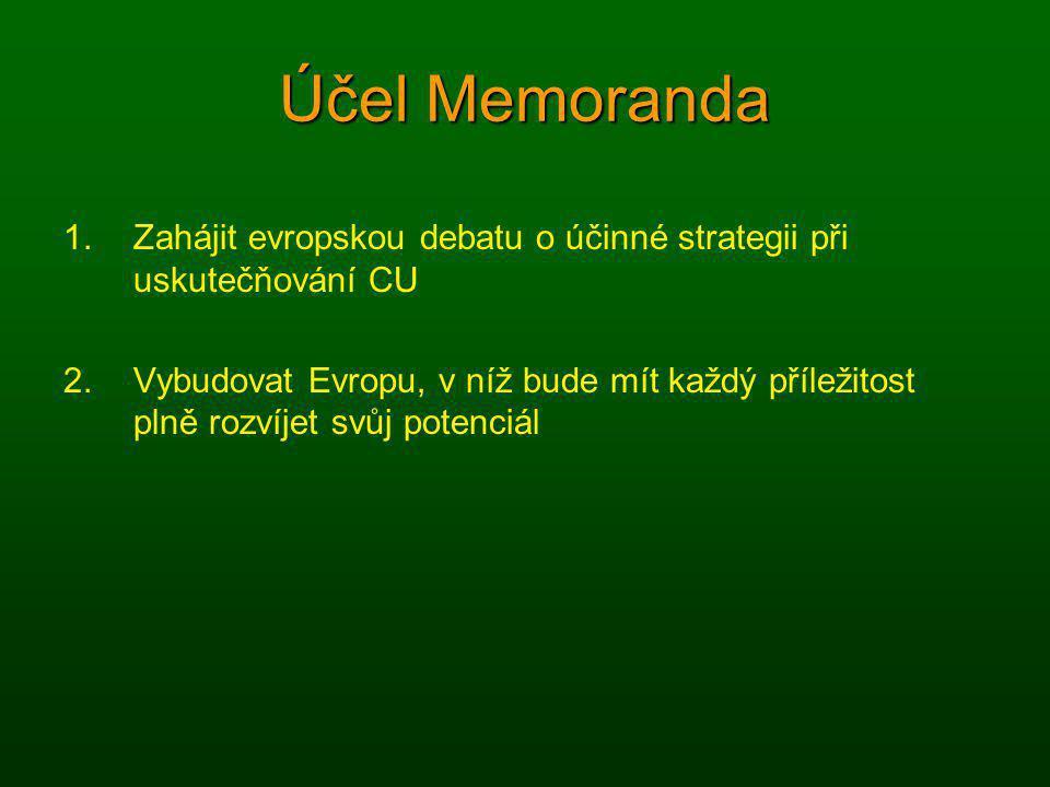 Účel Memoranda Zahájit evropskou debatu o účinné strategii při uskutečňování CU.