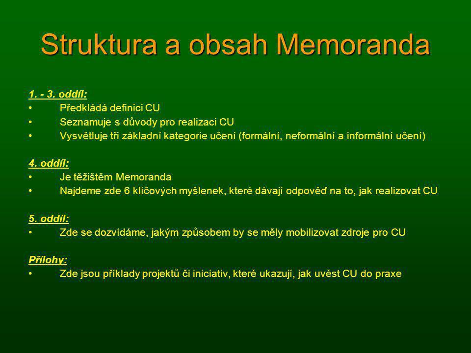 Struktura a obsah Memoranda