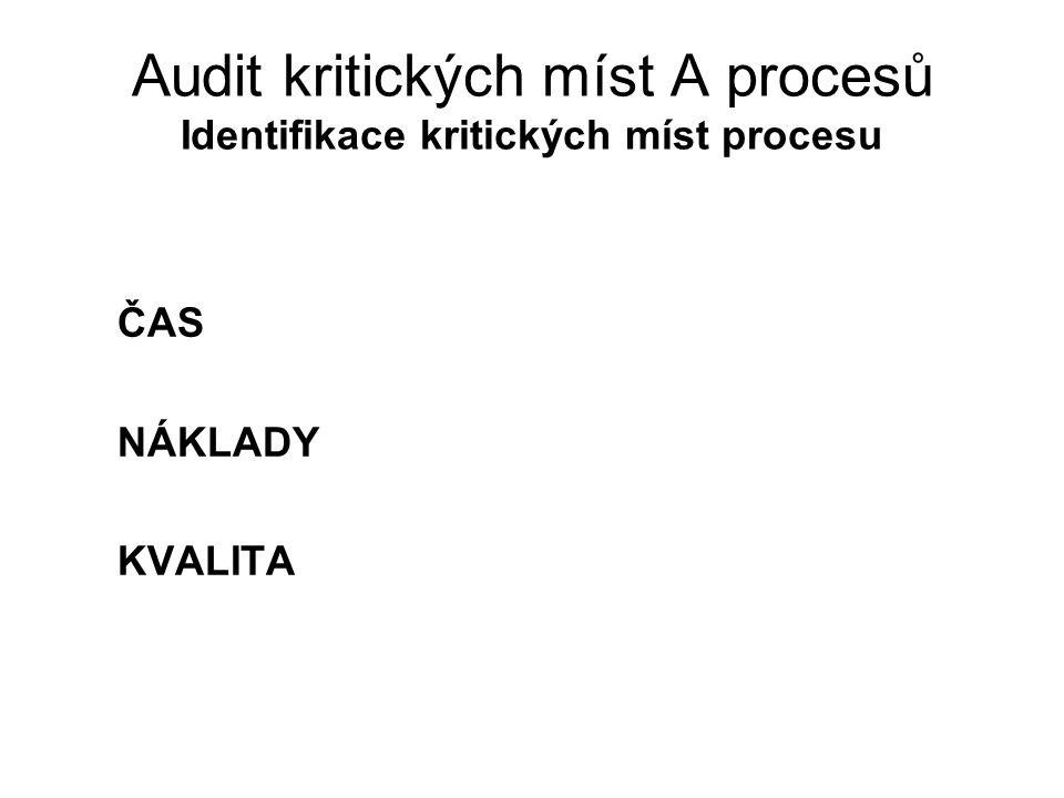 Audit kritických míst A procesů Identifikace kritických míst procesu