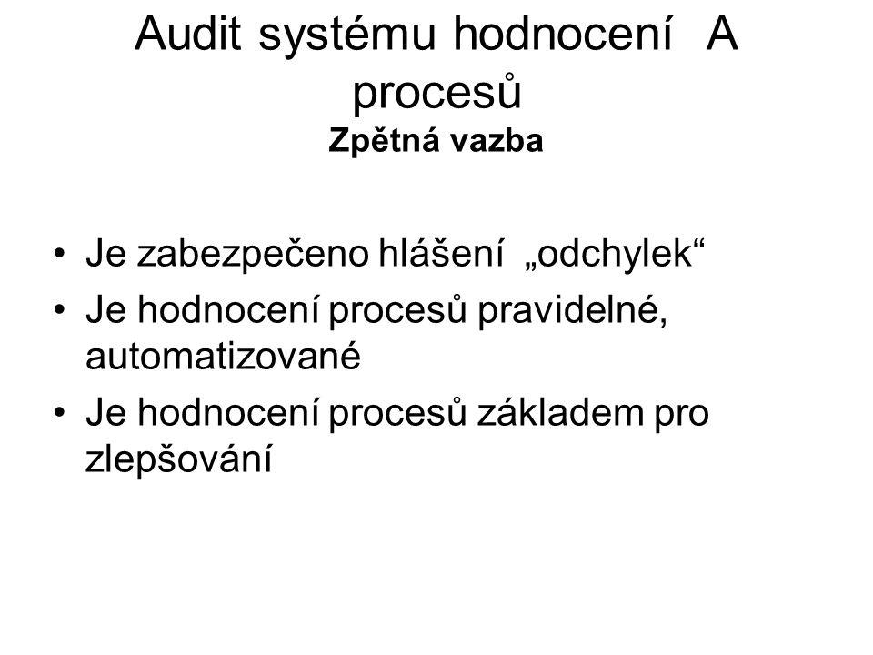 Audit systému hodnocení A procesů Zpětná vazba