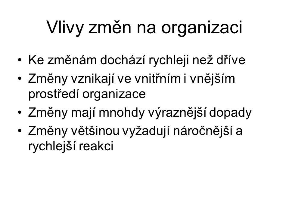 Vlivy změn na organizaci