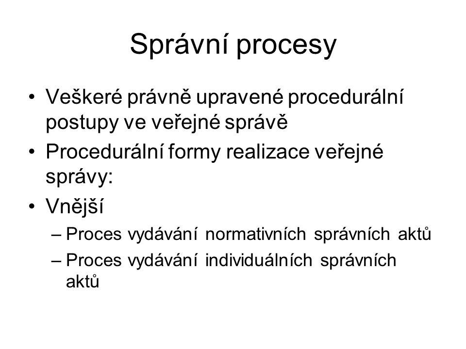 Správní procesy Veškeré právně upravené procedurální postupy ve veřejné správě. Procedurální formy realizace veřejné správy: