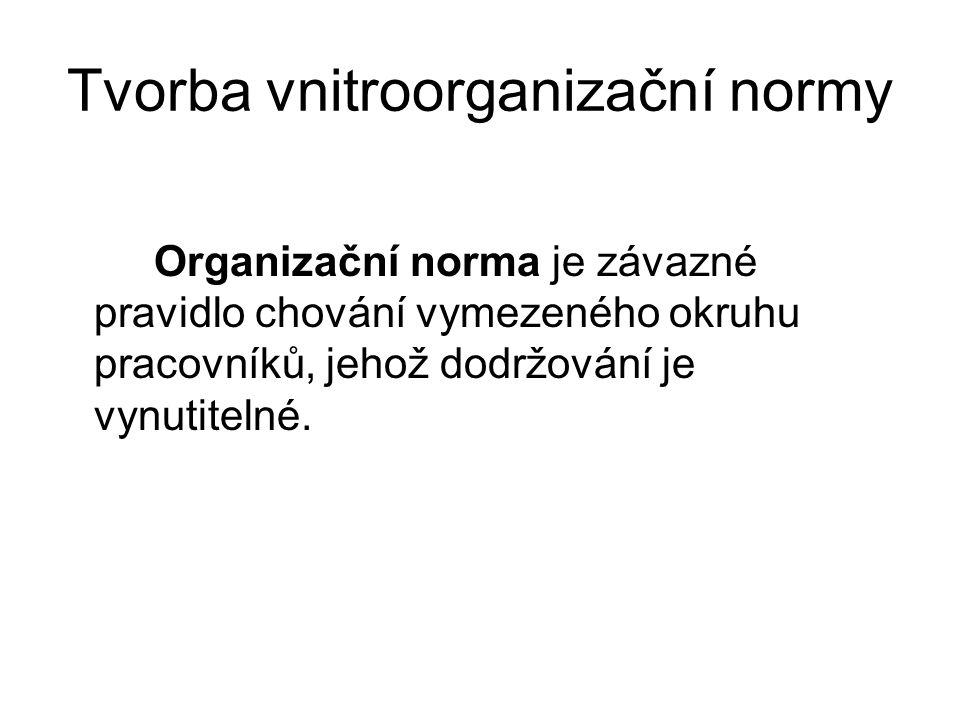 Tvorba vnitroorganizační normy