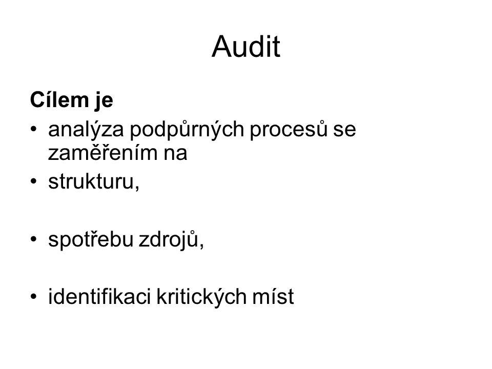 Audit Cílem je analýza podpůrných procesů se zaměřením na strukturu,