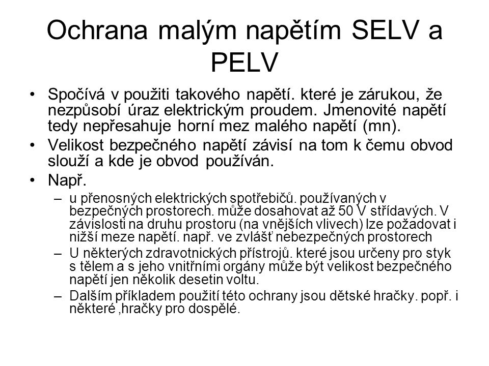 Ochrana malým napětím SELV a PELV