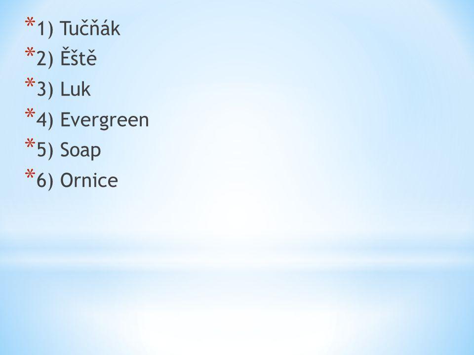 1) Tučňák 2) Ěště 3) Luk 4) Evergreen 5) Soap 6) Ornice
