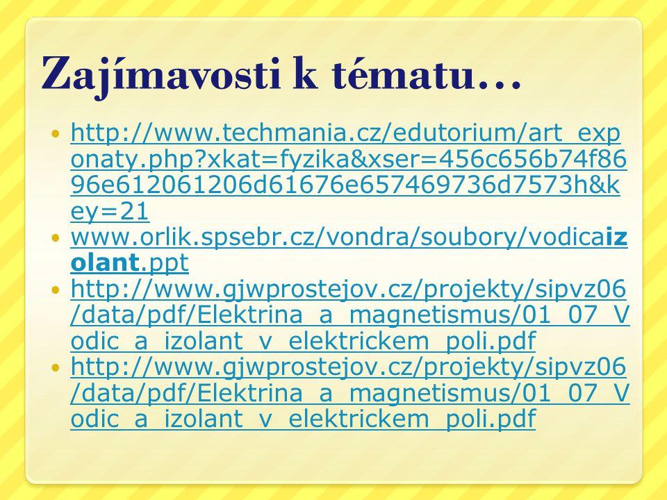 Zajímavosti k tématu… http://www.techmania.cz/edutorium/art_exponaty.php xkat=fyzika&xser=456c656b74f8696e612061206d61676e657469736d7573h&key=21.