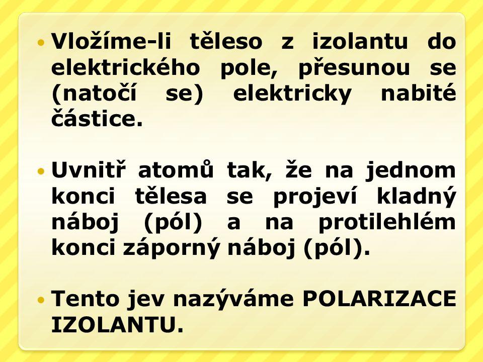 Vložíme-li těleso z izolantu do elektrického pole, přesunou se (natočí se) elektricky nabité částice.