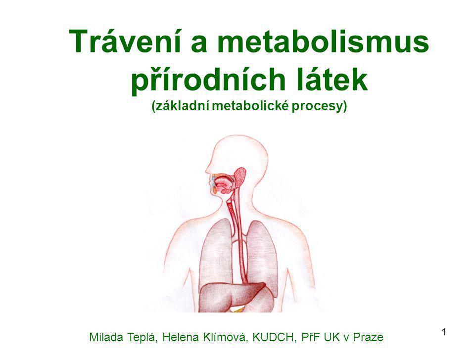 Trávení a metabolismus přírodních látek (základní metabolické procesy)