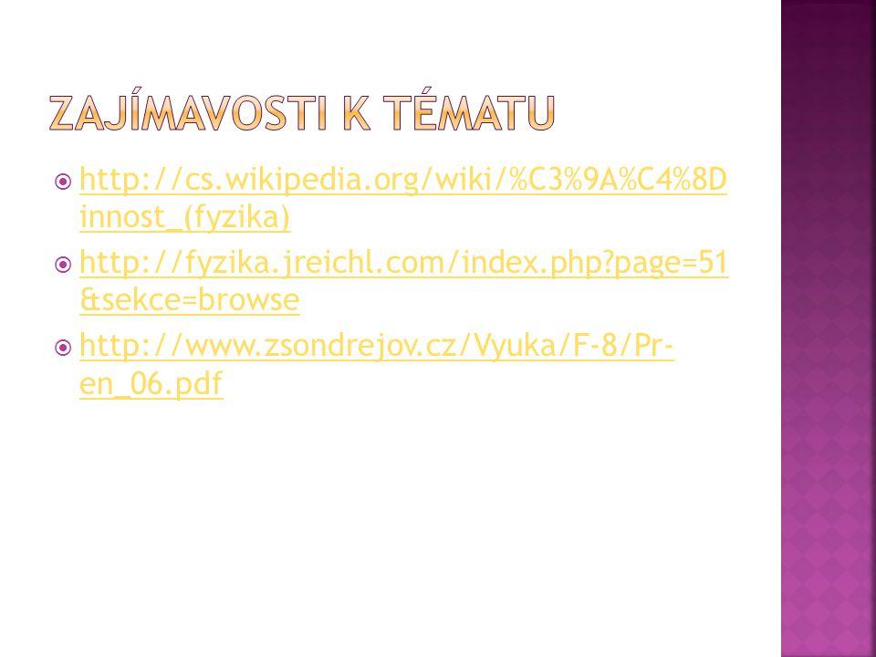Zajímavosti k tématu http://cs.wikipedia.org/wiki/%C3%9A%C4%8D innost_(fyzika) http://fyzika.jreichl.com/index.php page=51 &sekce=browse.