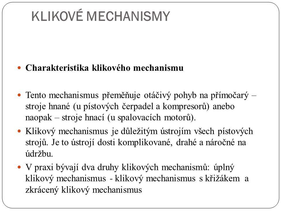 KLIKOVÉ MECHANISMY Charakteristika klikového mechanismu