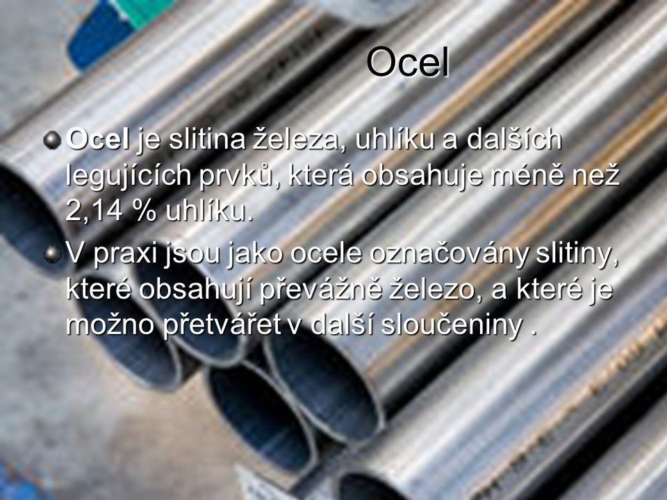 Ocel Ocel je slitina železa, uhlíku a dalších legujících prvků, která obsahuje méně než 2,14 % uhlíku.