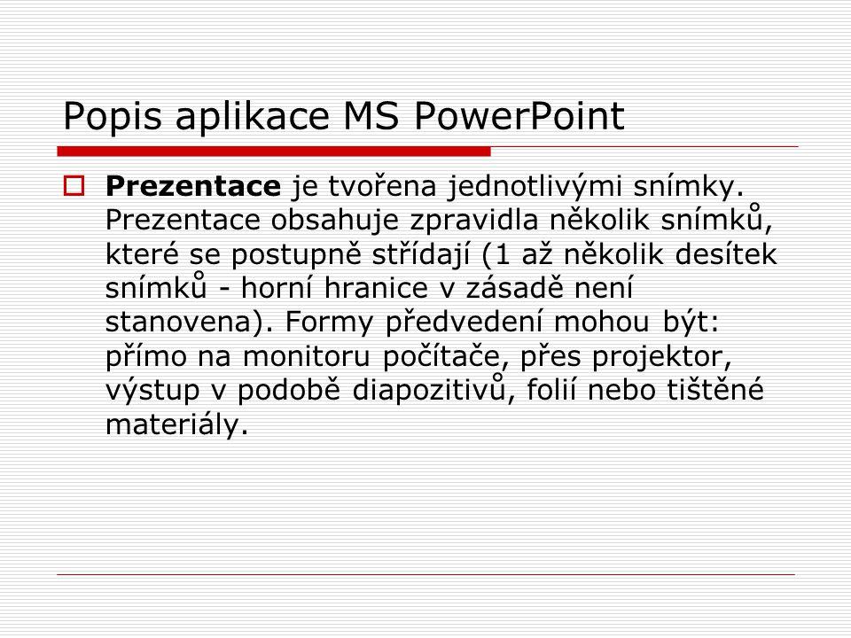 Popis aplikace MS PowerPoint