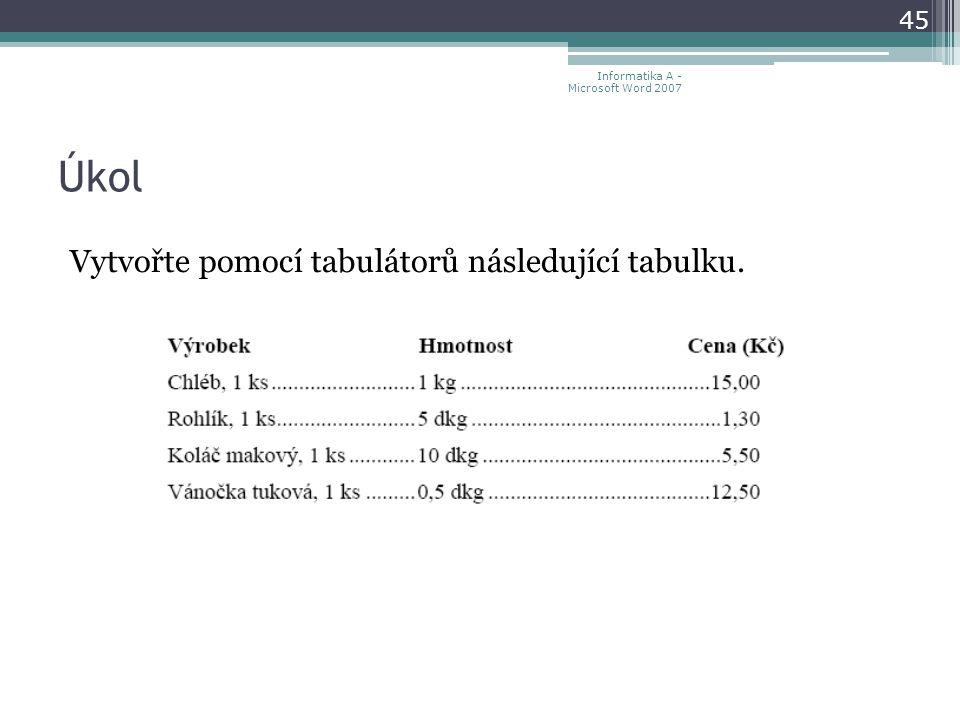 Úkol Vytvořte pomocí tabulátorů následující tabulku.