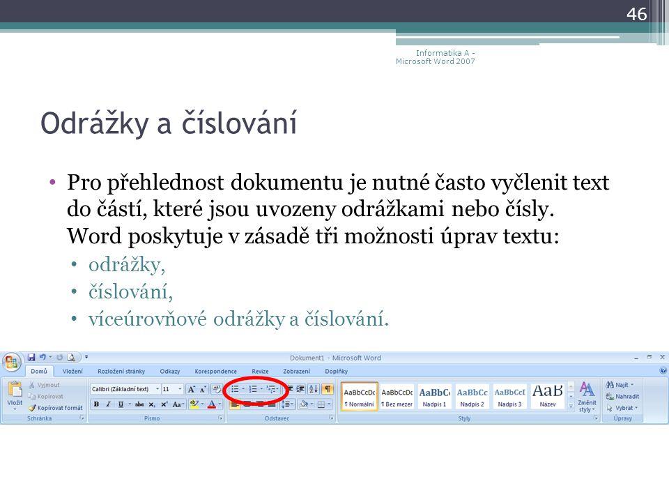 Informatika A - Microsoft Word 2007