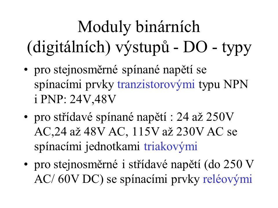 Moduly binárních (digitálních) výstupů - DO - typy