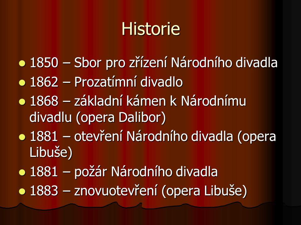 Historie 1850 – Sbor pro zřízení Národního divadla