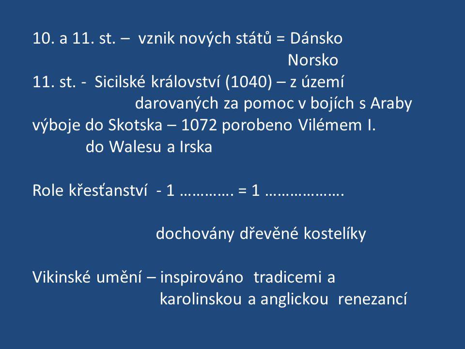10. a 11. st. – vznik nových států = Dánsko