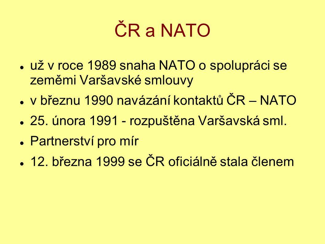 ČR a NATO už v roce 1989 snaha NATO o spolupráci se zeměmi Varšavské smlouvy. v březnu 1990 navázání kontaktů ČR – NATO.