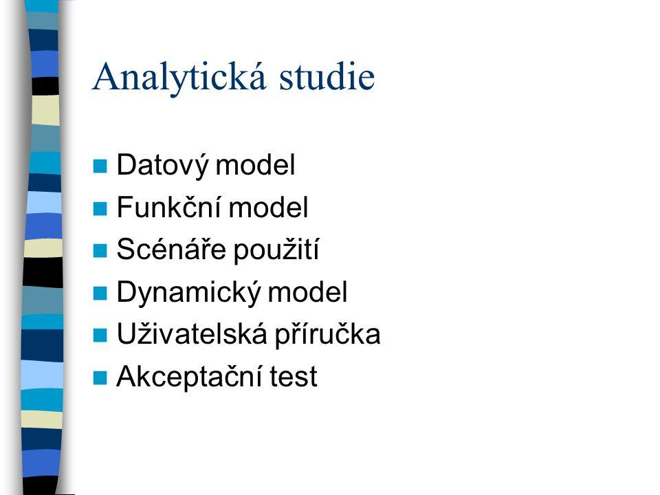 Analytická studie Datový model Funkční model Scénáře použití