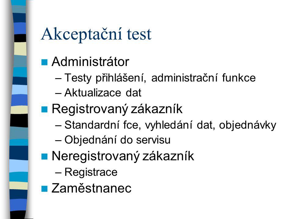 Akceptační test Administrátor Registrovaný zákazník