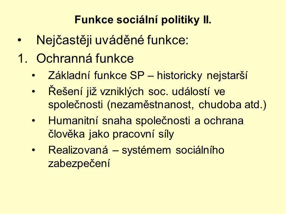 Funkce sociální politiky II.