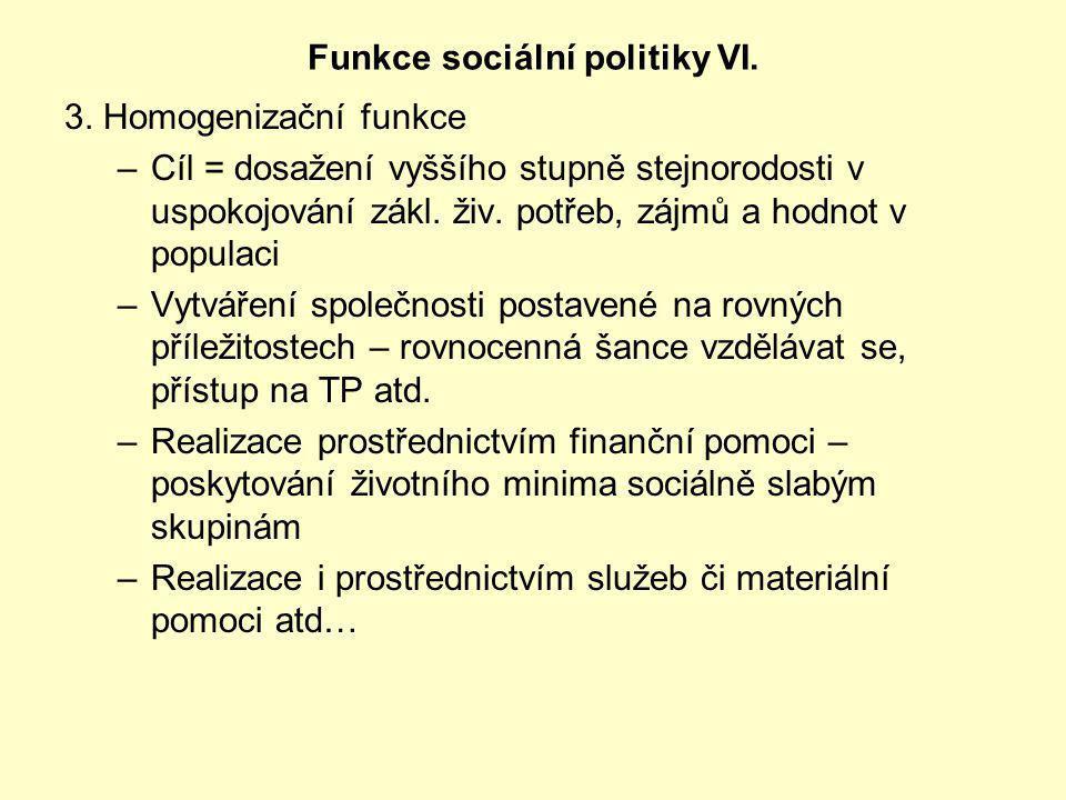 Funkce sociální politiky VI.