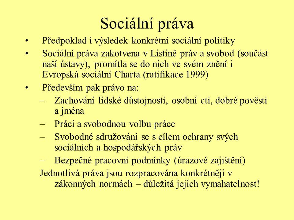 Sociální práva Předpoklad i výsledek konkrétní sociální politiky