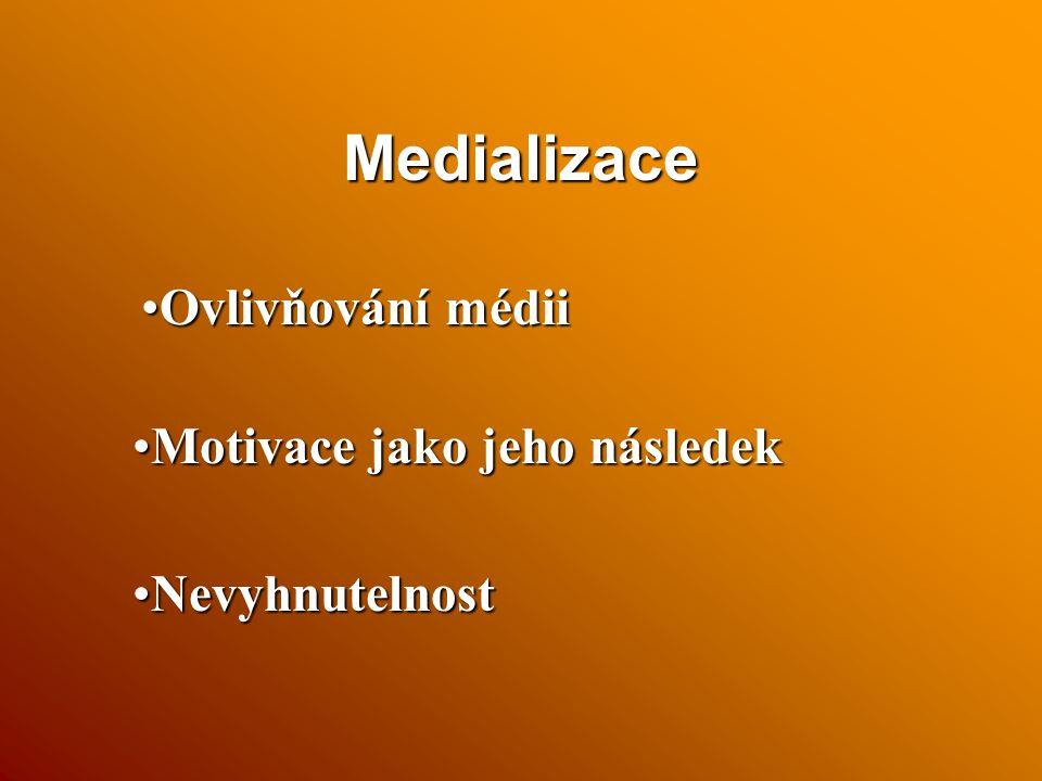 Medializace Ovlivňování médii Motivace jako jeho následek