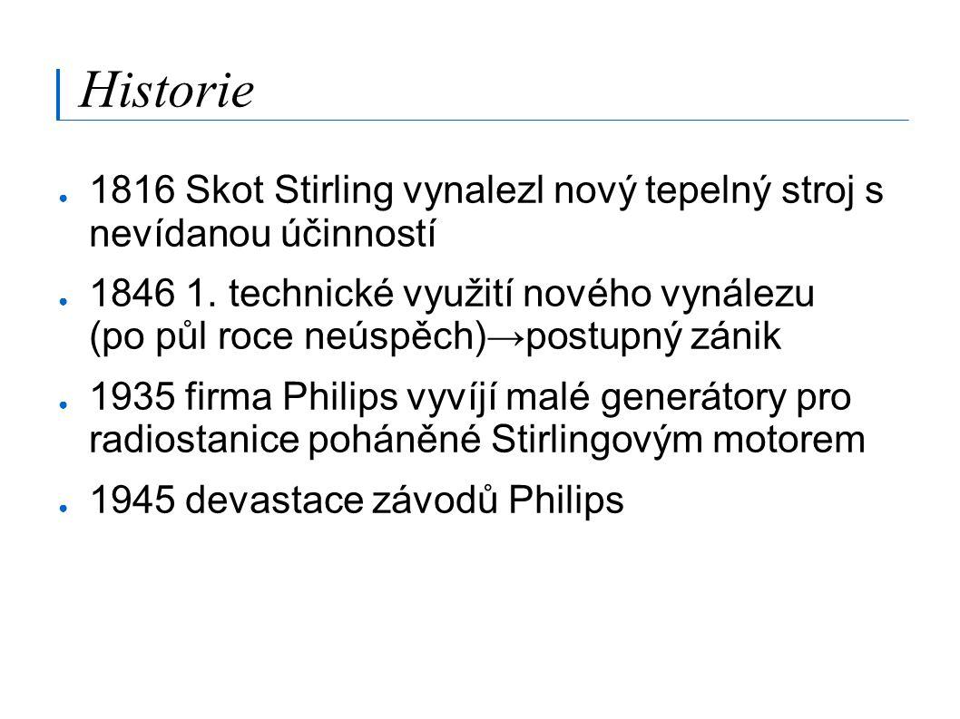 Historie 1816 Skot Stirling vynalezl nový tepelný stroj s nevídanou účinností.