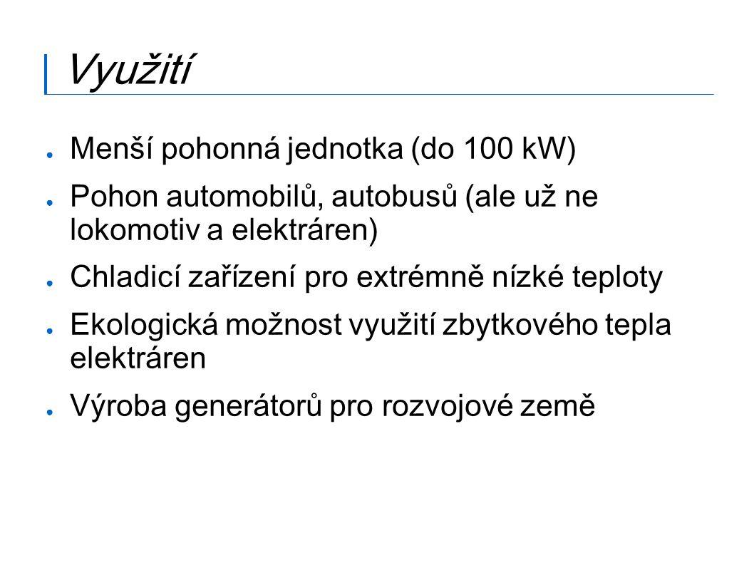 Využití Menší pohonná jednotka (do 100 kW)