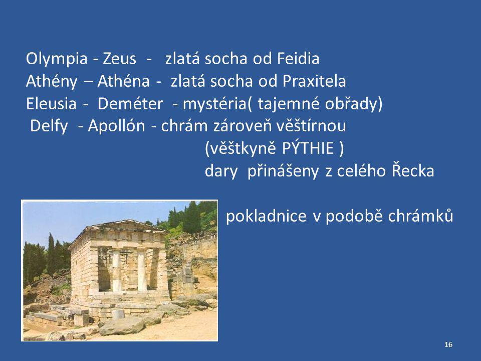 Olympia - Zeus - zlatá socha od Feidia
