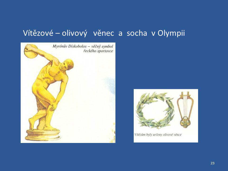Vítězové – olivový věnec a socha v Olympii