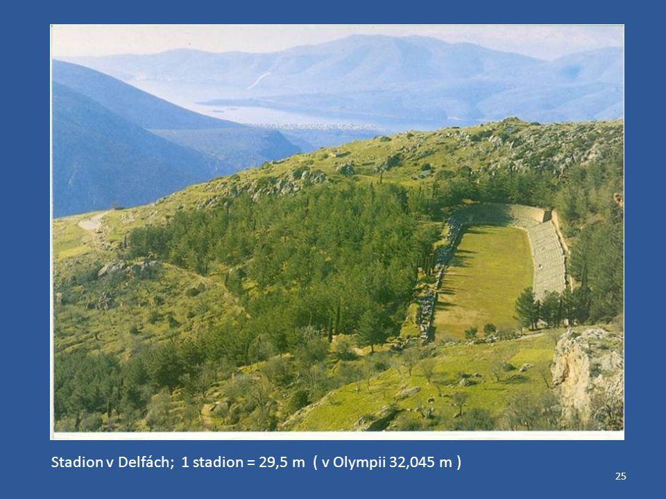 Stadion v Delfách; 1 stadion = 29,5 m ( v Olympii 32,045 m )