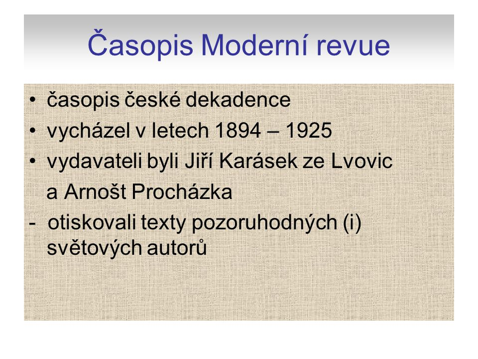Časopis Moderní revue časopis české dekadence