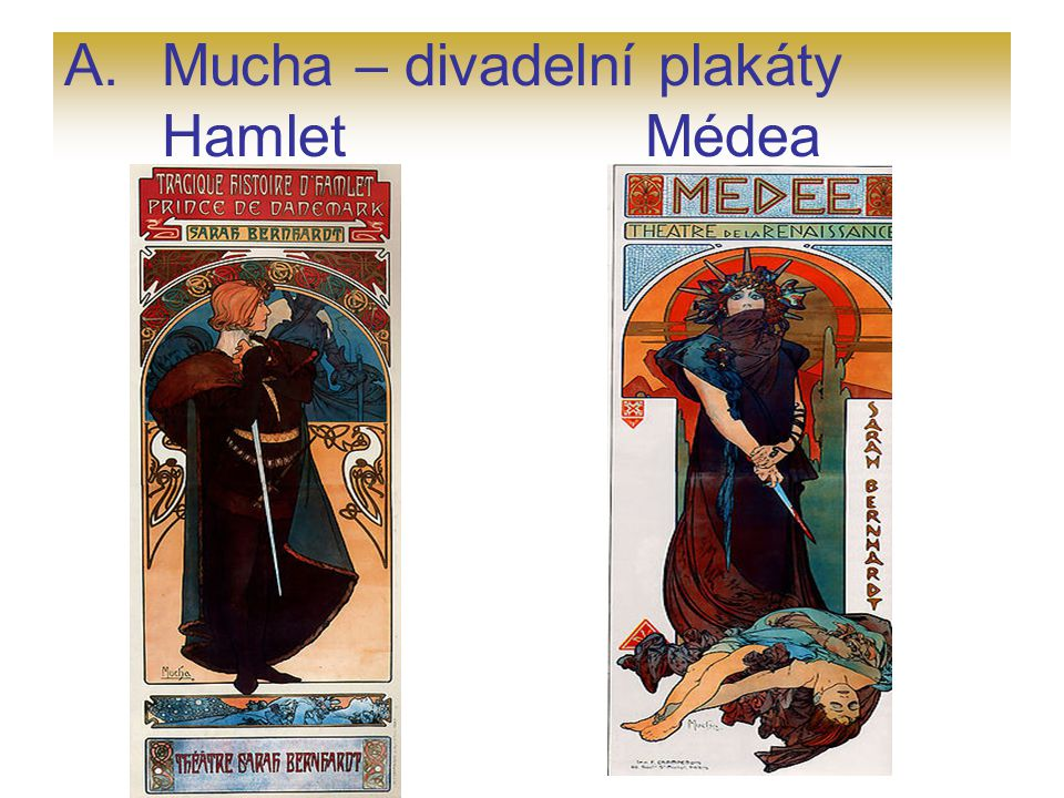 Mucha – divadelní plakáty Hamlet Médea