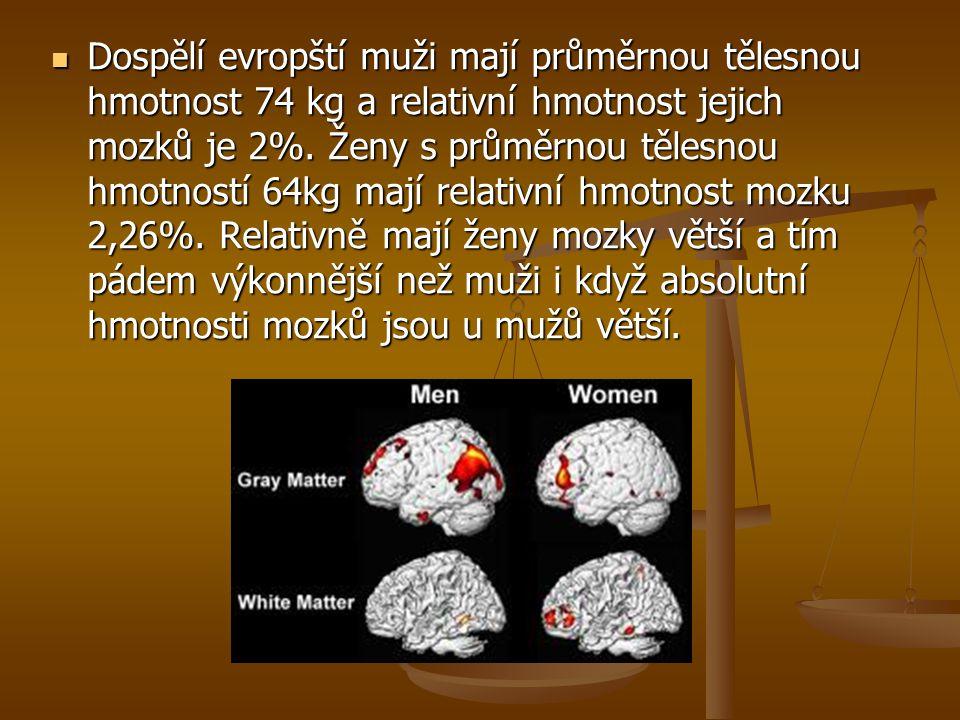 Dospělí evropští muži mají průměrnou tělesnou hmotnost 74 kg a relativní hmotnost jejich mozků je 2%.