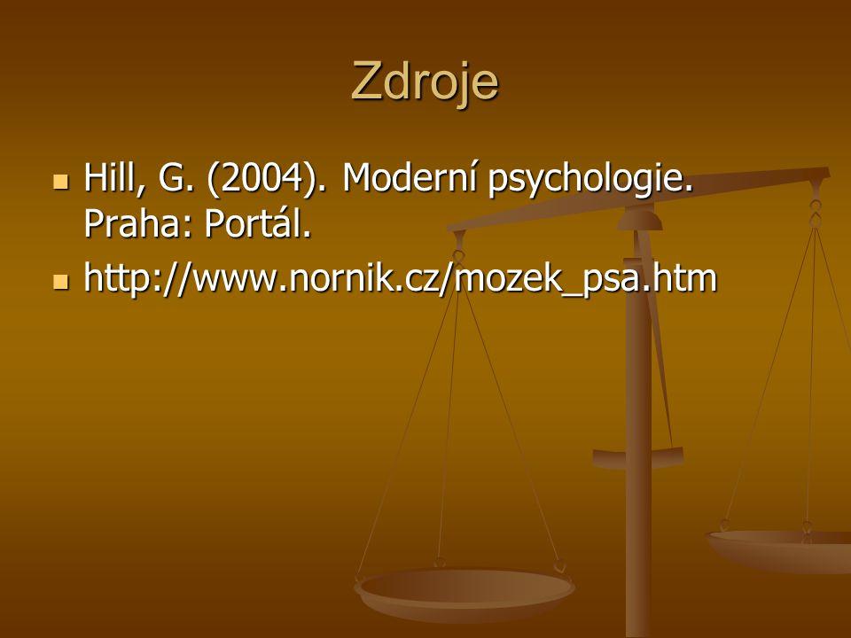 Zdroje Hill, G. (2004). Moderní psychologie. Praha: Portál.