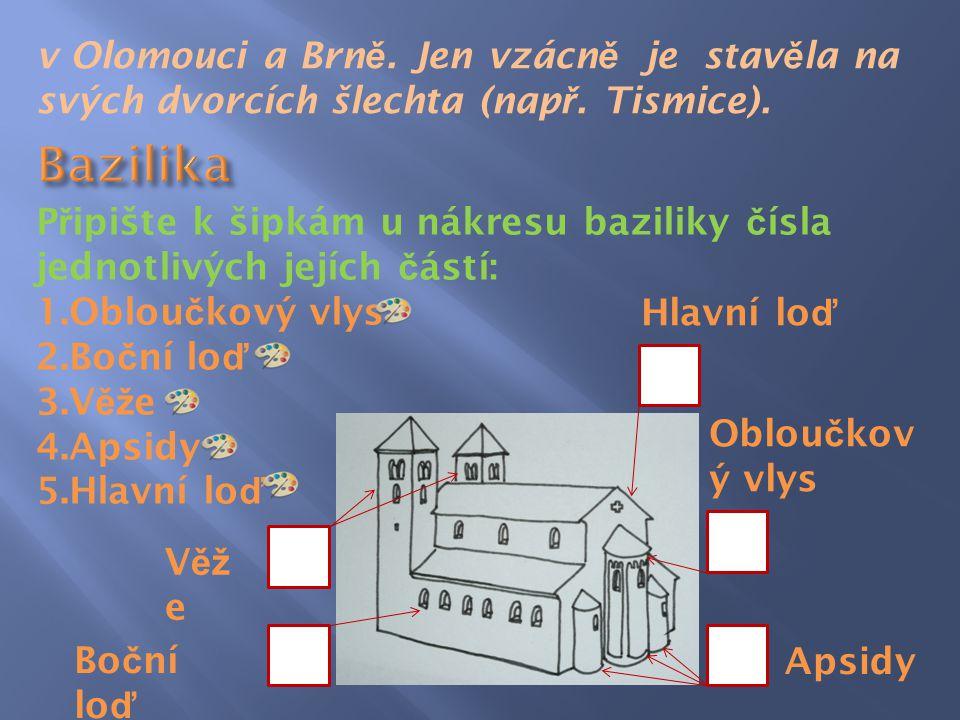 v Olomouci a Brně. Jen vzácně je stavěla na svých dvorcích šlechta (např. Tismice).