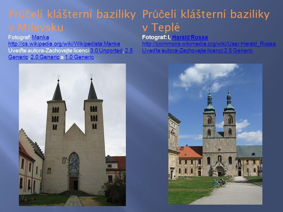 Průčelí klášterní baziliky v Milevsku Průčelí klášterní baziliky