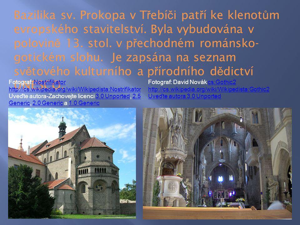 Bazilika sv. Prokopa v Třebíči patří ke klenotům evropského stavitelství. Byla vybudována v polovině 13. stol. v přechodném románsko-gotickém slohu. Je zapsána na seznam světového kulturního a přírodního dědictví UNESCO.