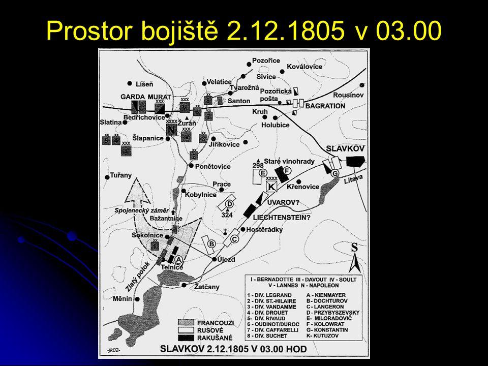 Prostor bojiště 2.12.1805 v 03.00