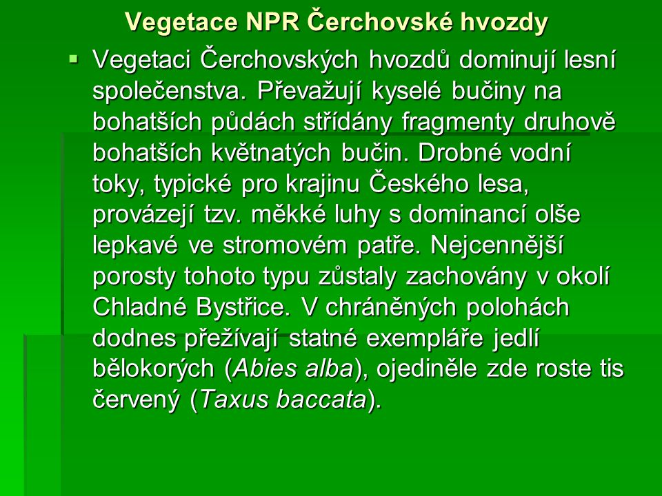 Vegetace NPR Čerchovské hvozdy