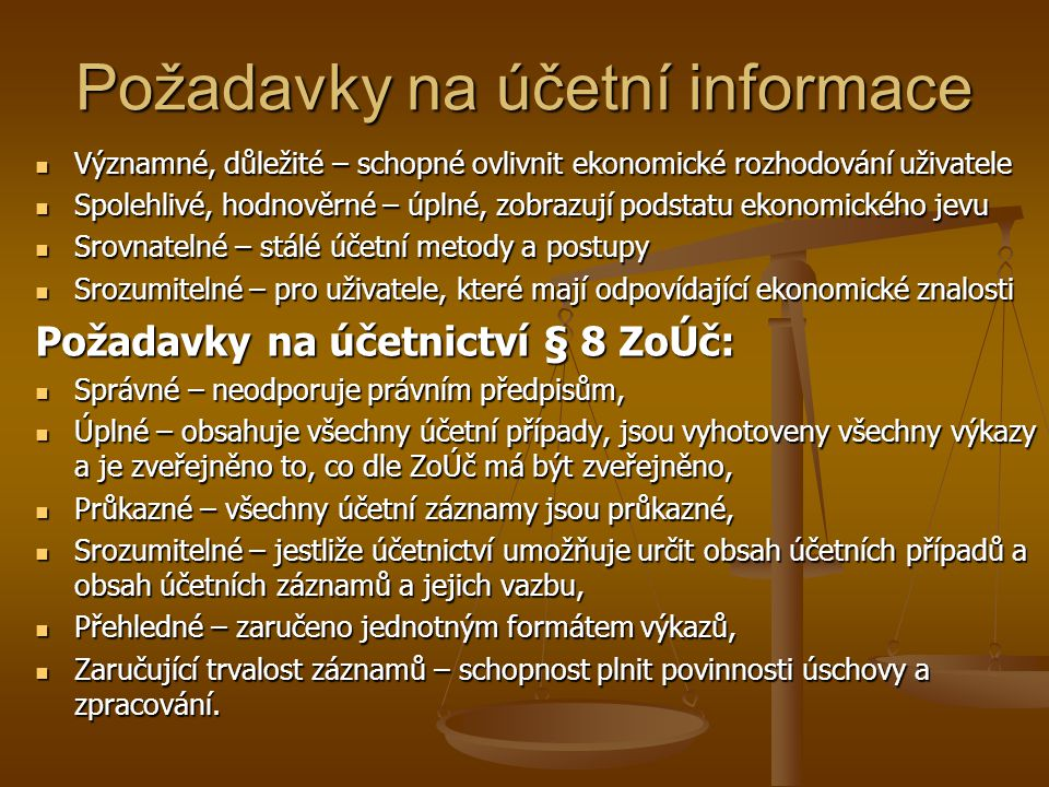 Požadavky na účetní informace