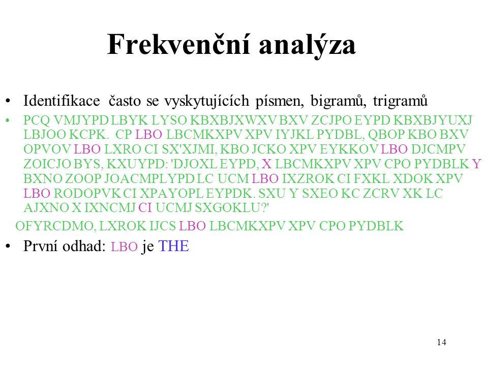 Frekvenční analýza Identifikace často se vyskytujících písmen, bigramů, trigramů.