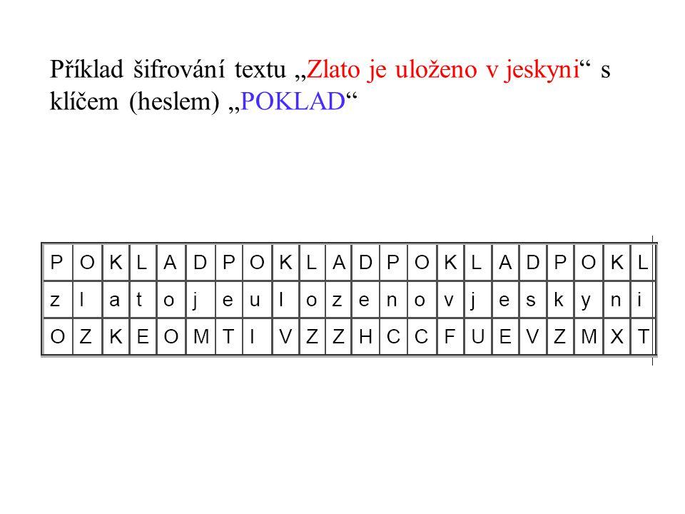 """Příklad šifrování textu """"Zlato je uloženo v jeskyni s"""