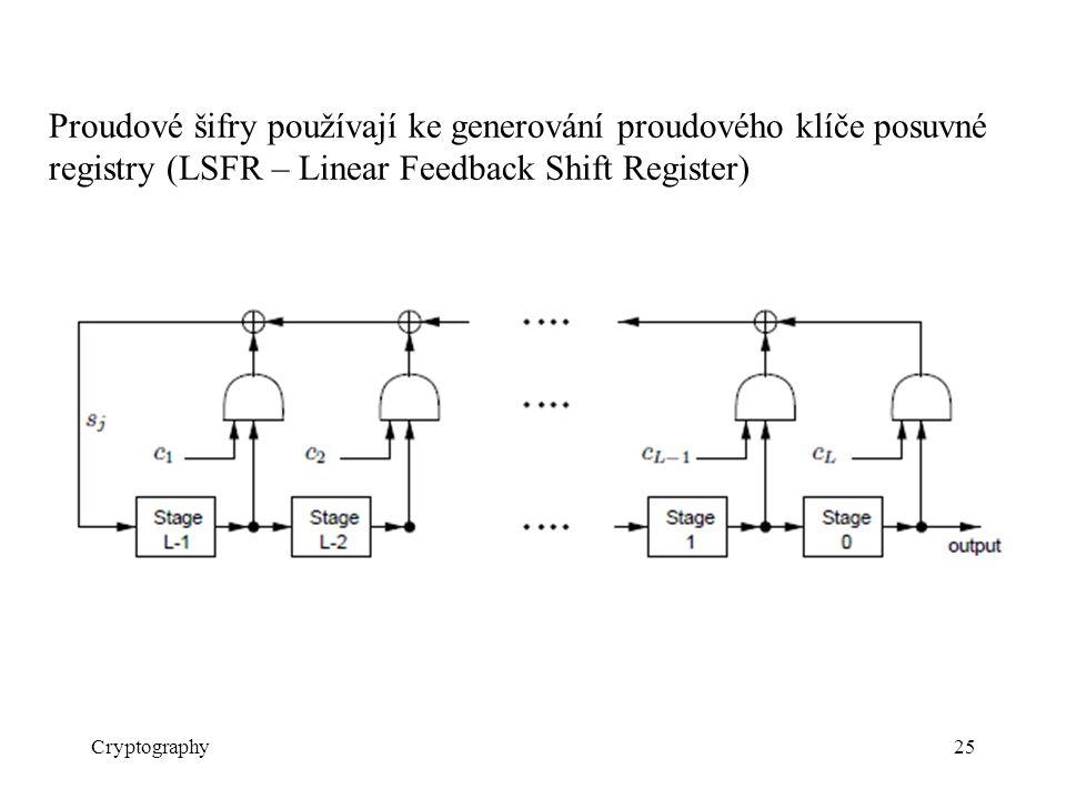 Proudové šifry používají ke generování proudového klíče posuvné registry (LSFR – Linear Feedback Shift Register)