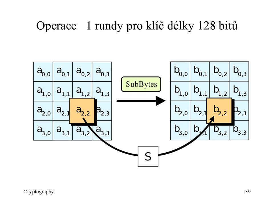 Operace 1 rundy pro klíč délky 128 bitů