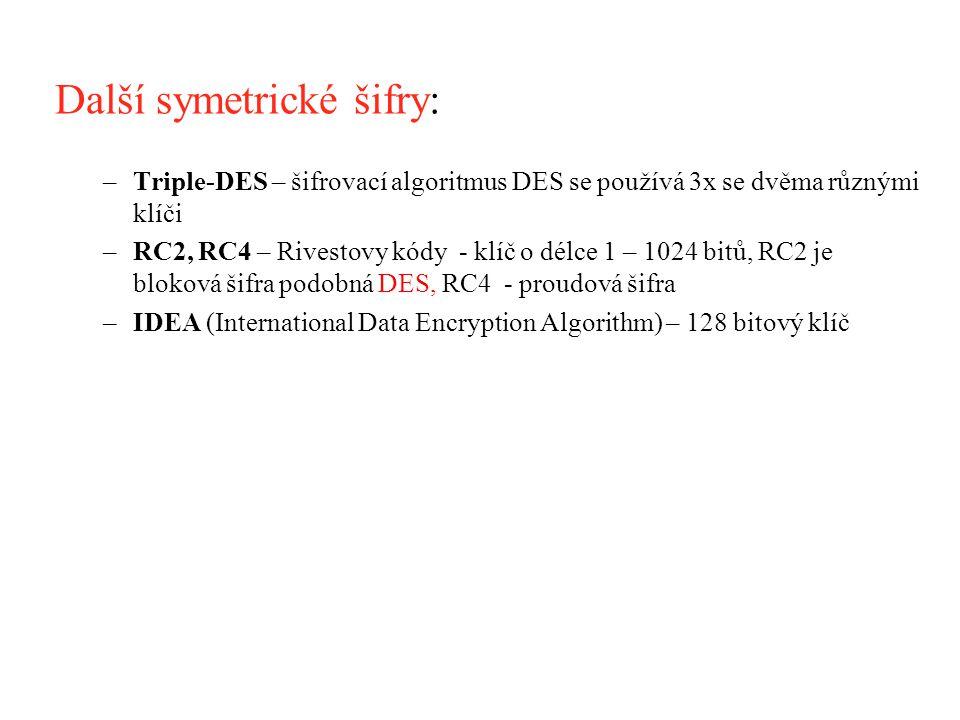 Další symetrické šifry: