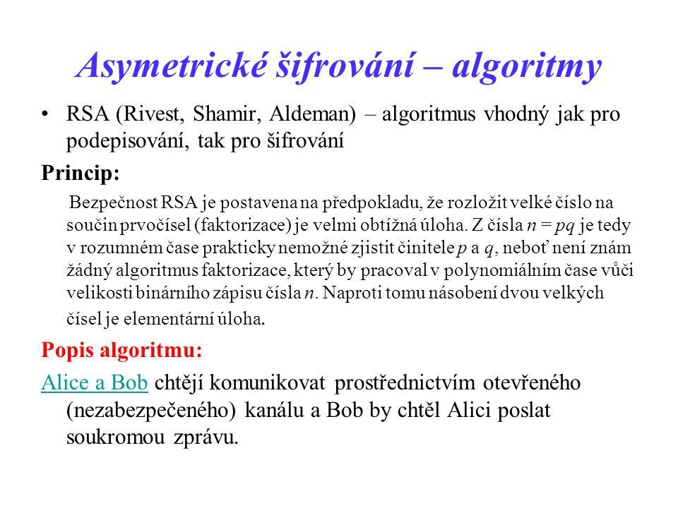 Asymetrické šifrování – algoritmy